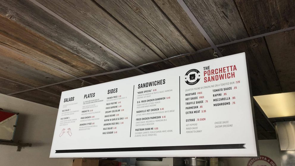 The menu board at our Dundas St. West location.