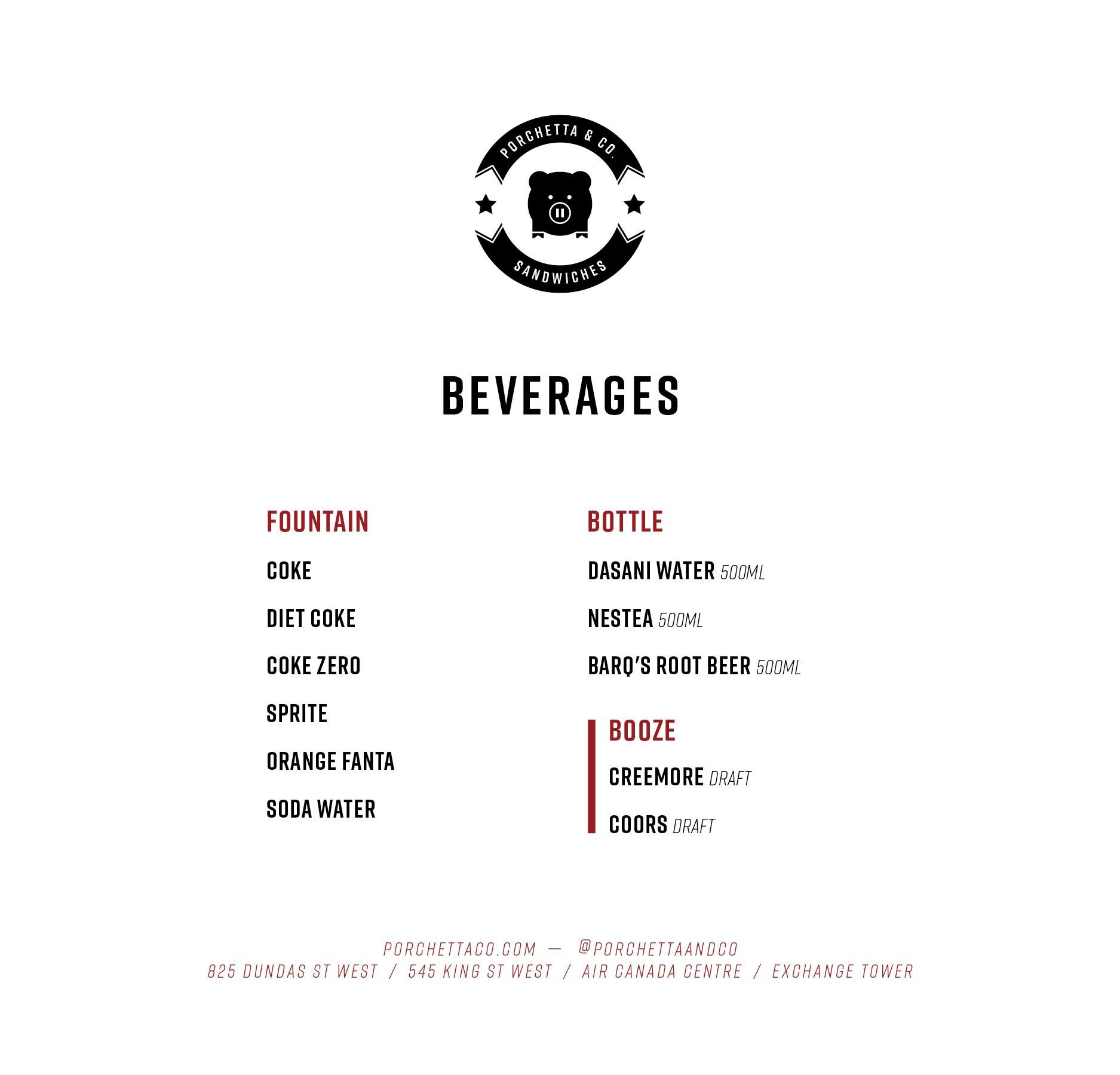 ACC Beverages Menu