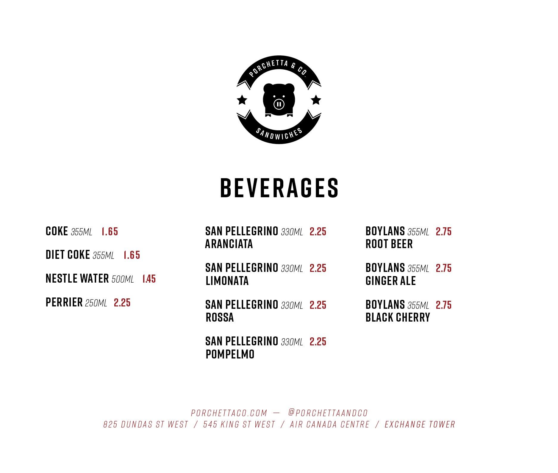 Dundas St West Beverages Menu