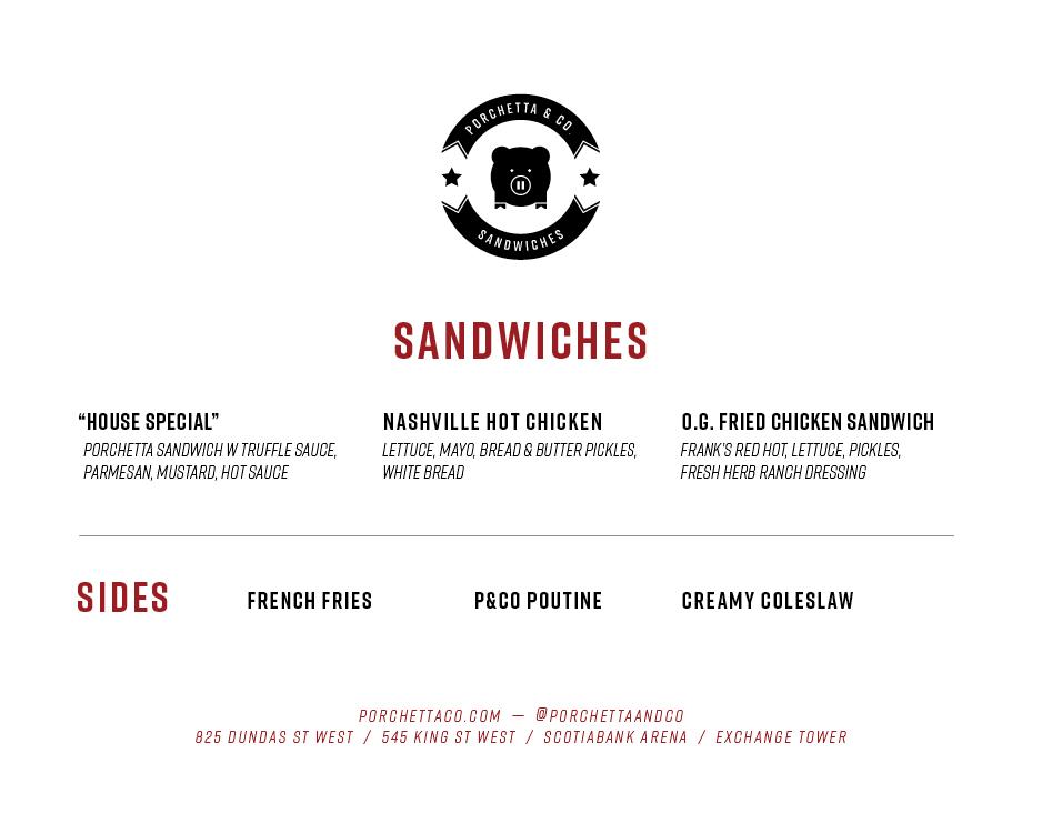 Scotiabank Arena Sandwich/Sides Menu