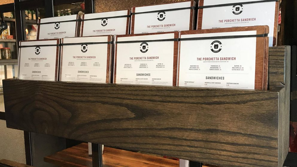 The menus at our King St. West location.