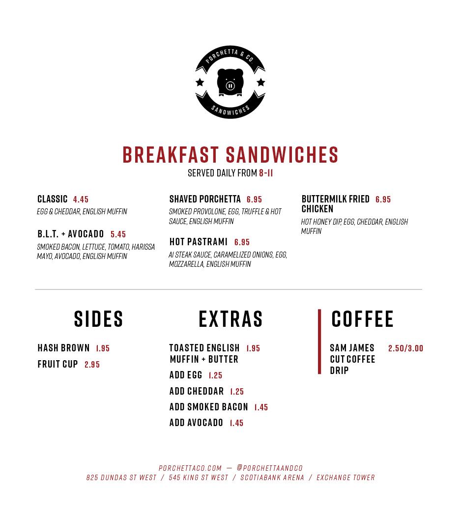 Exchange Tower Breakfast Menu