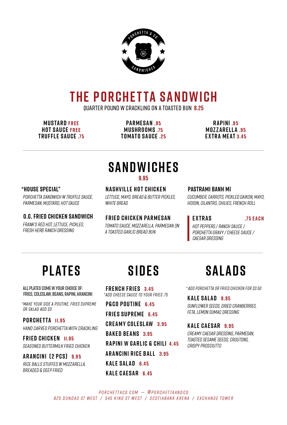 Exchange Tower Sandwich/Sides Menu