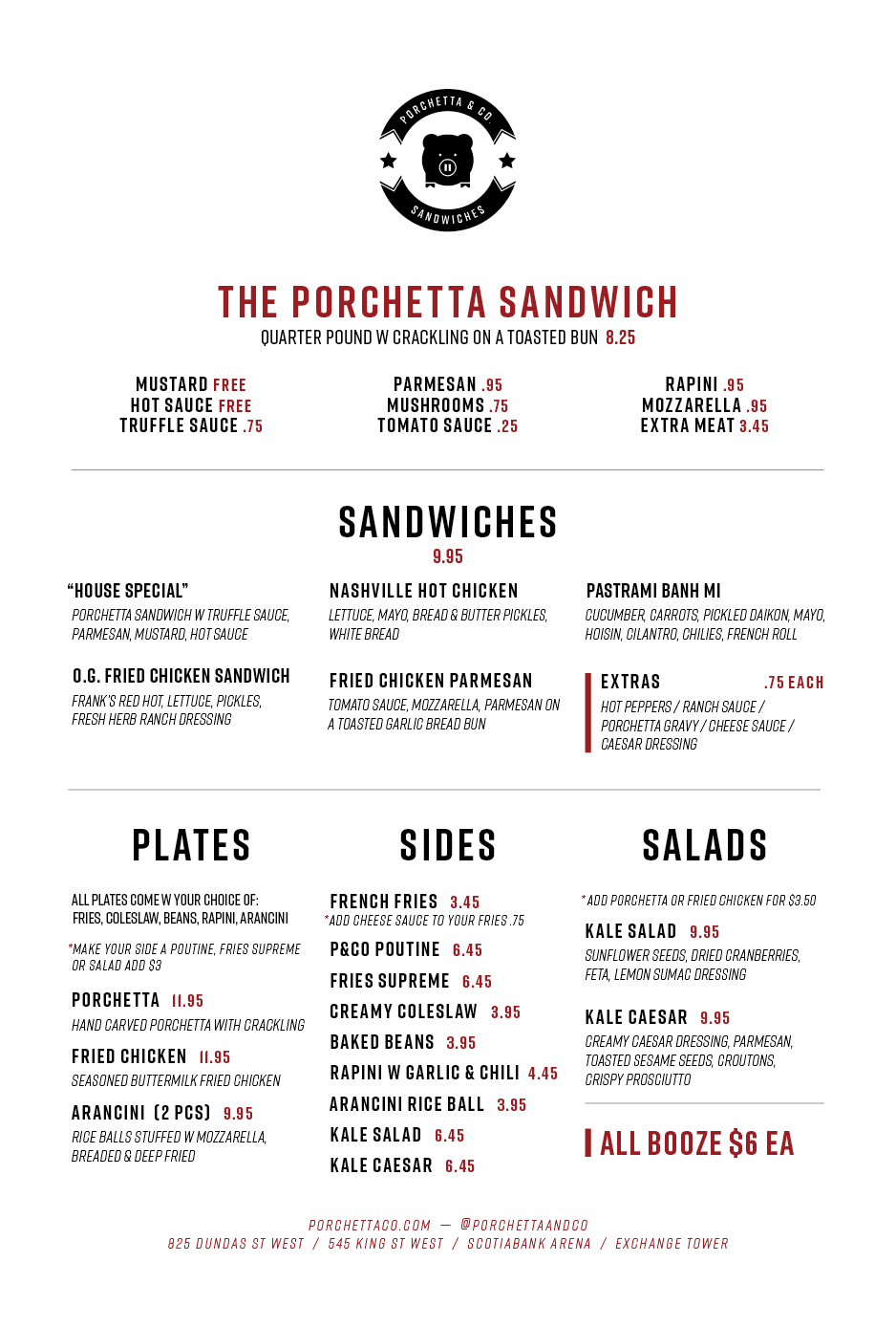 King St West Sandwich/Sides Menu