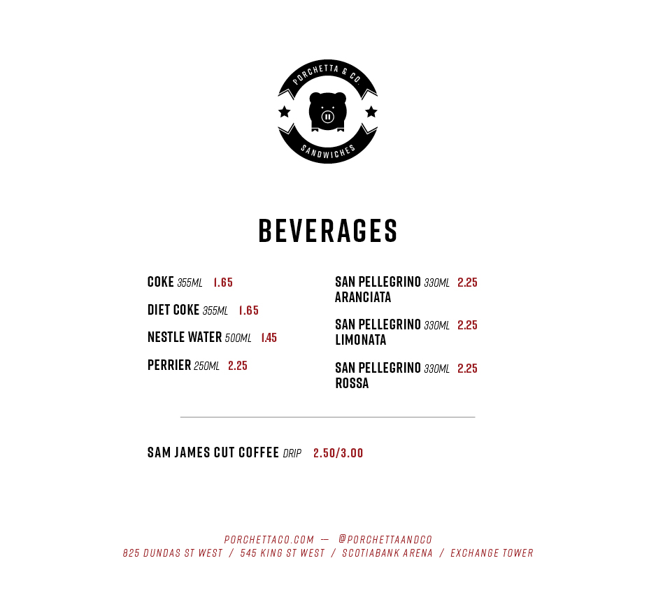 Exchange Tower Beverages Menu