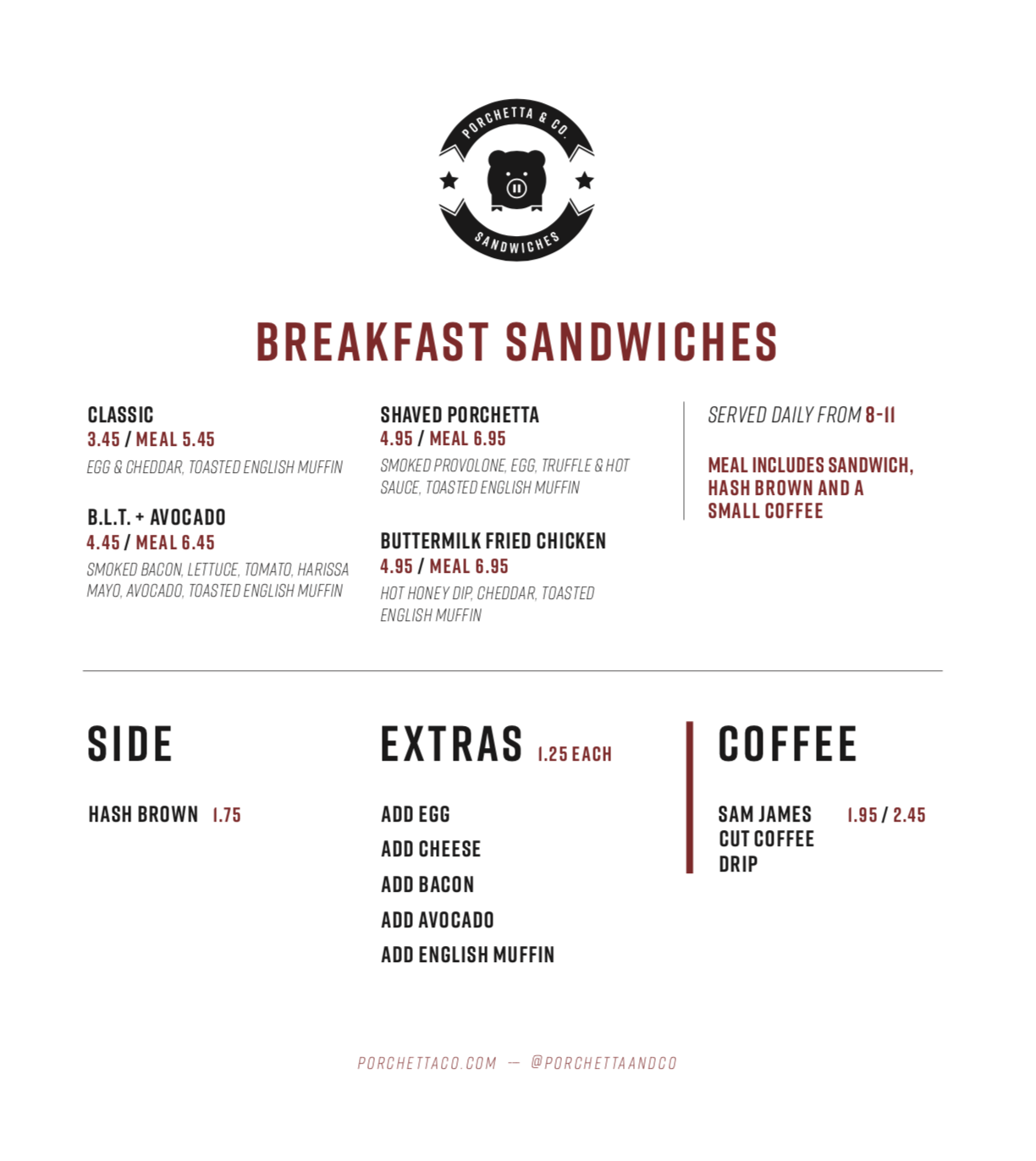 Exchange Tower Breakfast Menu