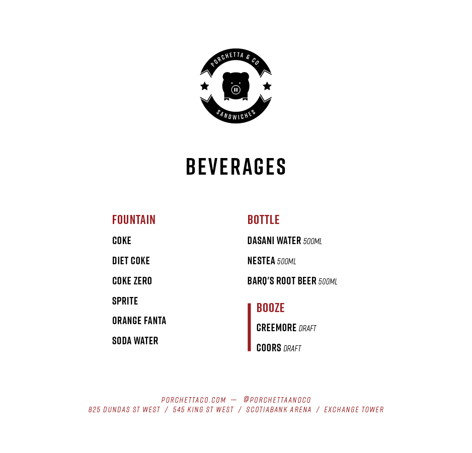 Scotiabank Arena Beverages Menu