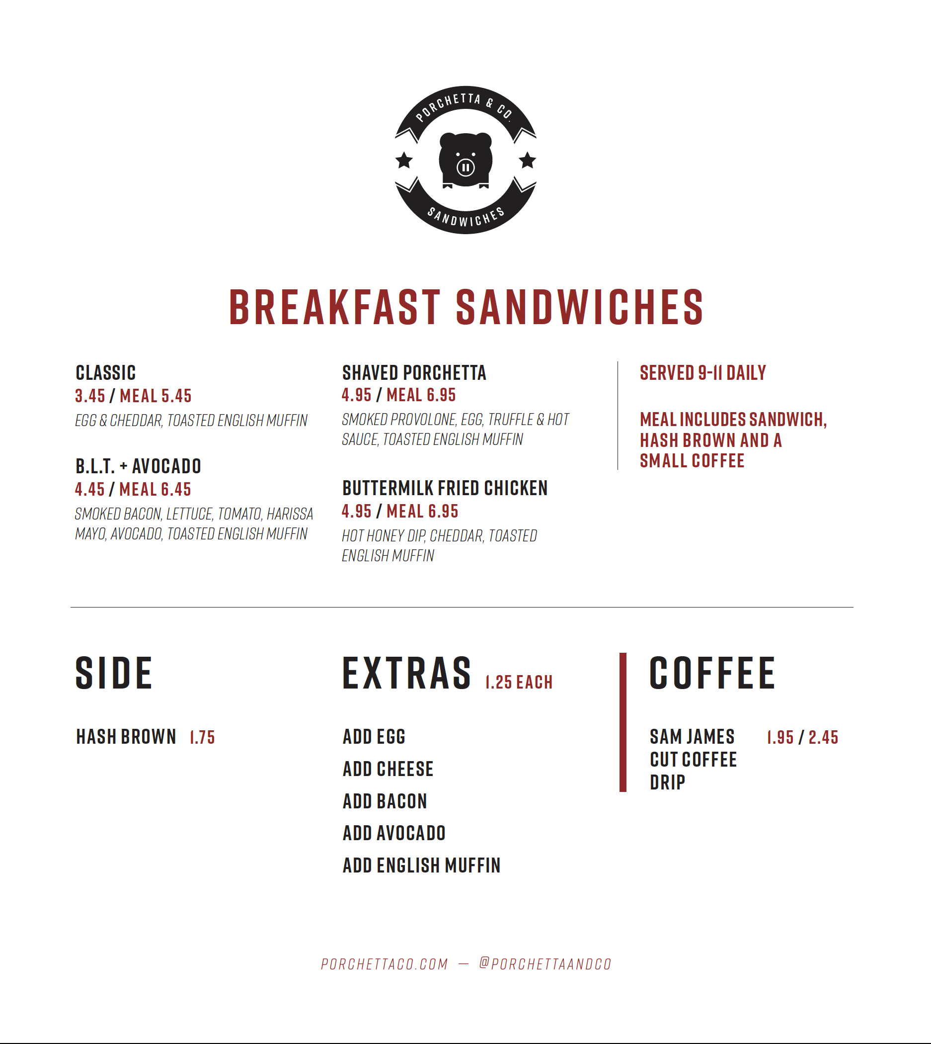 King St West Breakfast Menu
